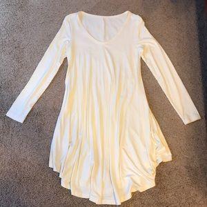 Long-sleeve, ivory dress